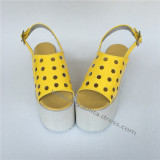 Sweet Glossy Yellow Lolita Sandals with holes