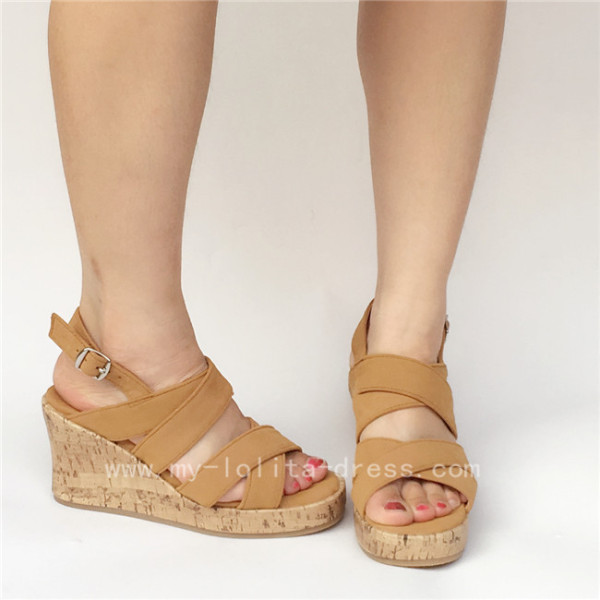 Unique Khaki Velvet Cross Belts Lolita Sandals