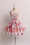 Alice Girl ~Strawberry With Cream~ Sweet Lolita Salopette + Badage -Pre-order