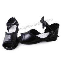 Black Lace Trim Open Toe Lolita Sandals