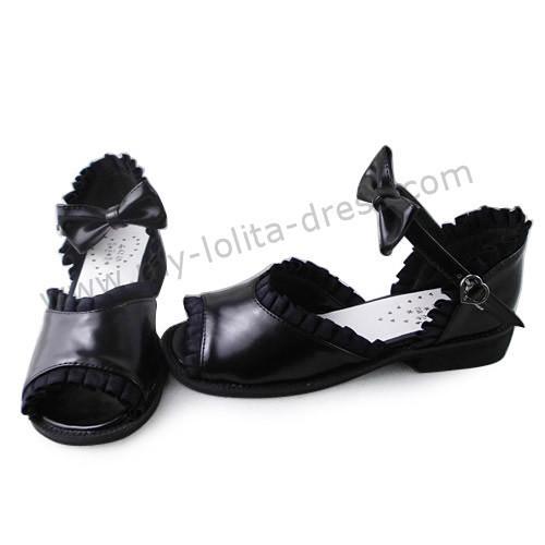 Black Lace Trim Open Toe Lolita Sandals