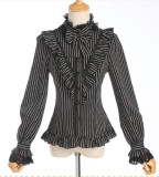 Vintage Stripe Lolita Long Sleeves Blouse