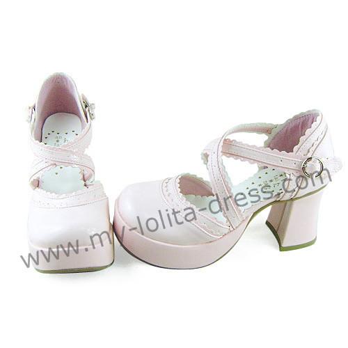 Cross Straps Pink Sweet Lolita Sandals