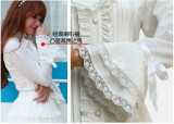 Vingtage Chiffon Long Sleeves Stand Collar Lolita Blouse Beige Size L In Stock