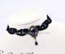 Black Lace Vampire Party Purple Pendant Lolita Necklace