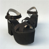 beautiful Black Matte Cross Straps Lolita Sandals