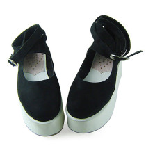 Black Velvet White Soles Lolita Shoes