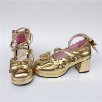 Golden Bows Cute Girls Shoes