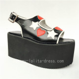 Sweet Black Matte Lolita Sandals with Stars and Hearts Designs