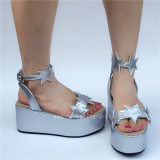 High Platform Silver Stars Lolita Sandals