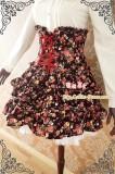 Strawberry Witch Rose Prints High Waist Sweet Lolita Skirt