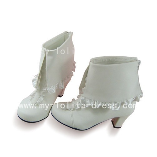 White Trim Flip Over Top Boots from Manga
