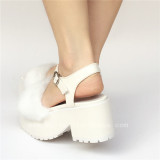 Sweet White Imitation Bunny Furs Lolita Sandals