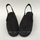 Black Velvet Lolita Shoes with High Platform