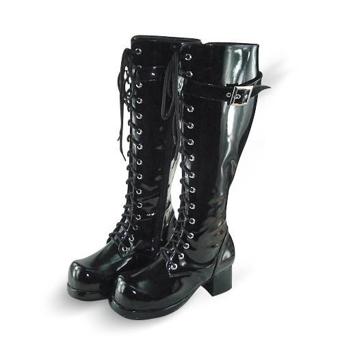 Glitter Black Straps Lolita Boots