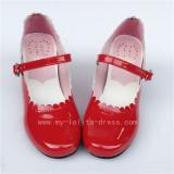 Wine Glossy Lolita Heels Shoes