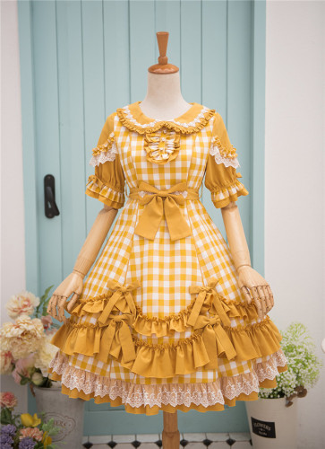 Fruit Tart Series Short Sleeves Gingham Lolita OP -Pre-order