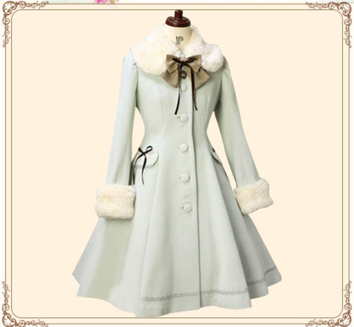 Lolita Princess Winter Single-breasted Long Coat&Fur Collar Cofffee With White Fur Size M - In Stock