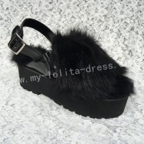 Black Fox Fur Lolita High Platform Sandals