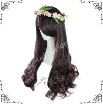 70cm Black Purple Curls Lolita Wig