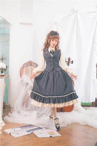 Rose Humanoid~ Stripe Vintage High Waist Lolita Vest/Skirt -Ready Made