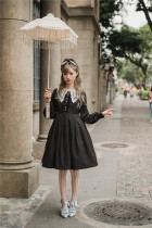 Little Dipper Embroidery Collar Long Sleeves Lolita OP -Ready Made Black Short Version Size M In Stock