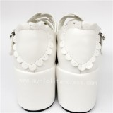 High Platform White Heart Bow Lolita Shoes