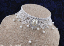 Cute White Lace Beads Lolita Choker