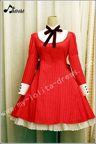 Red Prints Knots Lolita Dress