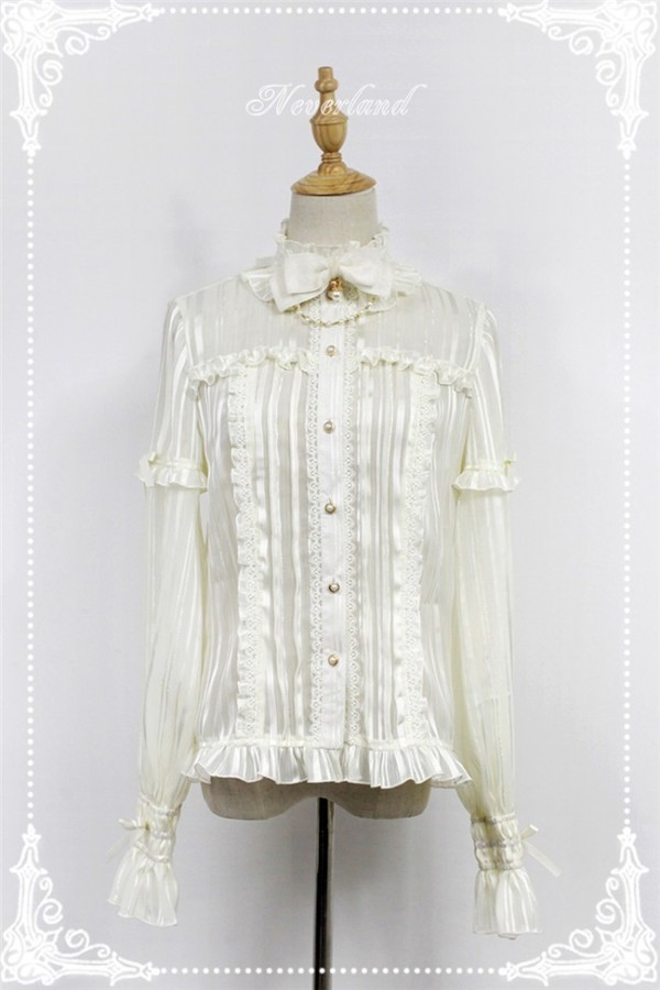 Audrey~ Stand Coolar Flare Sleeves Chiffon Lolita Blouse
