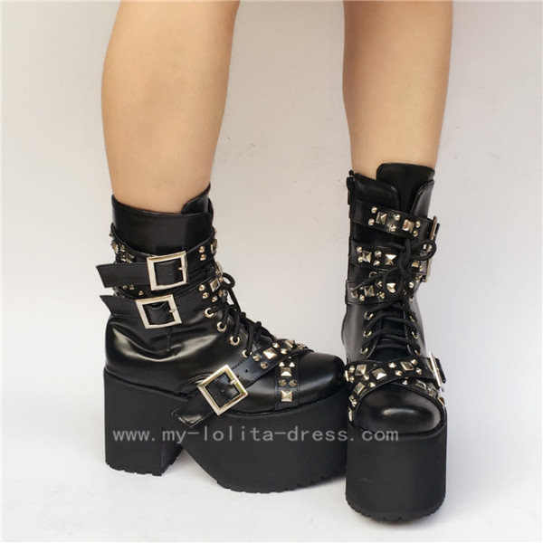 Black Punk Lace-up Lolita Boots