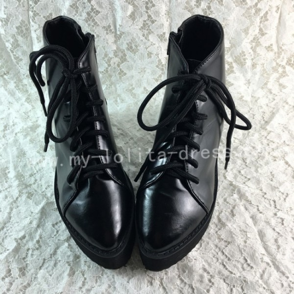 Sweet Black Lolita Short Boots Creeper