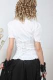 Sweet Ruffles Short Sleeves Shirred Back Cotton Lolita Dress