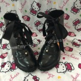 Sweet Matte Black Lolita Heels Boots with Laces