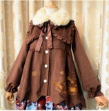 Sweet Thickening Thermal Loose Lolita Coat with Detachable Fur Collar