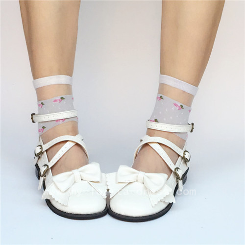 Sweet White Bow Belts Lolita Flat Shoes