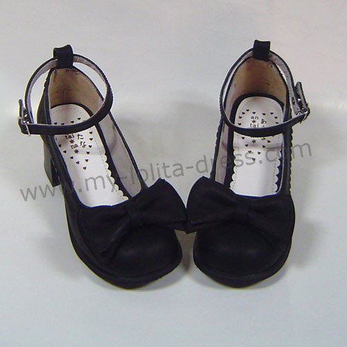 Black PU Bow Lolita Shoes