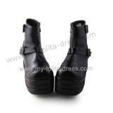 Matte Black Belts Ankle Length Short Boots