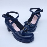 Sweet Cross Belts Single Bow Lolita Shoes