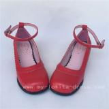 Elegant Red Matte Lolita Square Heels Shoes