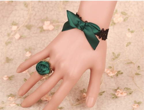 Black Lace Green Bow Lolita Bracelet with A Green Flower Ring