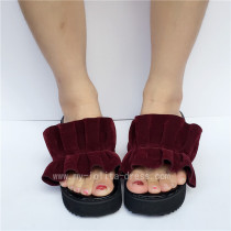 Popular Wine Velvet Lolita Sandals for Girls