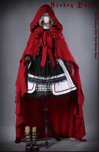 The Wolf Turns Little Red Riding Hood~ Lolita Fullset (OP+Scarf + Apron+Cape+Headbow) -Ready Made