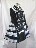 Classic Long Sleeves Black Lolita Coat with White Ruffles Lace Bows