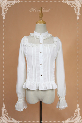 Neverland Lolita -Crystal Palace- Chiffon Tailored Roll Collar Blouse White M IN STOCK