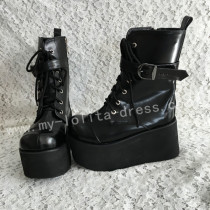 Girls Beautiful Matte Black Lolita Boots