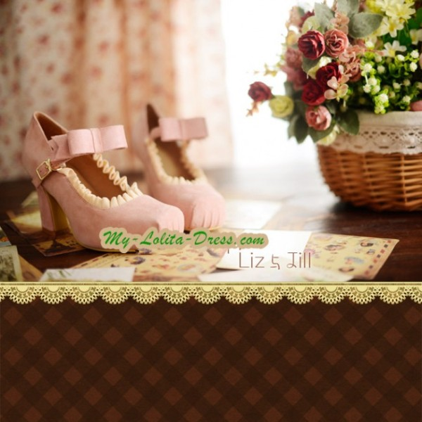 LizLisa Replica Elegent Square Head Lolita High-heeled Shoes with Ruffles