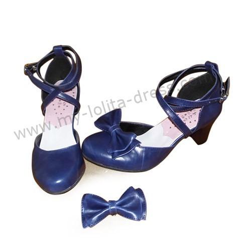 Navy Blue High Heel Girls Summer Lolita Sandals