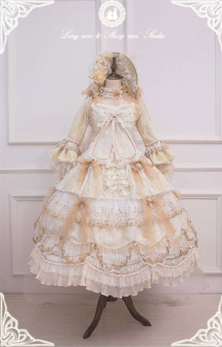 Ode to Love and Vows ~Luxury Lolita Fullset (OP + Necklace + Wristcuffs + Bonnet + Back Yarn) -Ready Made