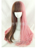 Sweet Smoky Pink&Brown Blended Lolita Wig with Bangs 70cm Long